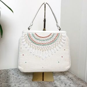 Beaded vintage snap closure bag